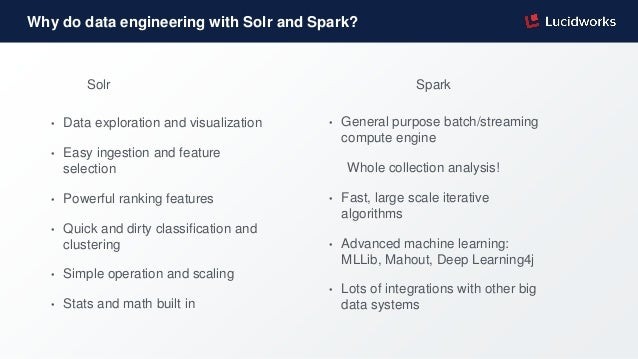 Why do data engineering with Solr and Spark? Solr Spark • Data exploration and visualization • Easy ingestion and feature ...