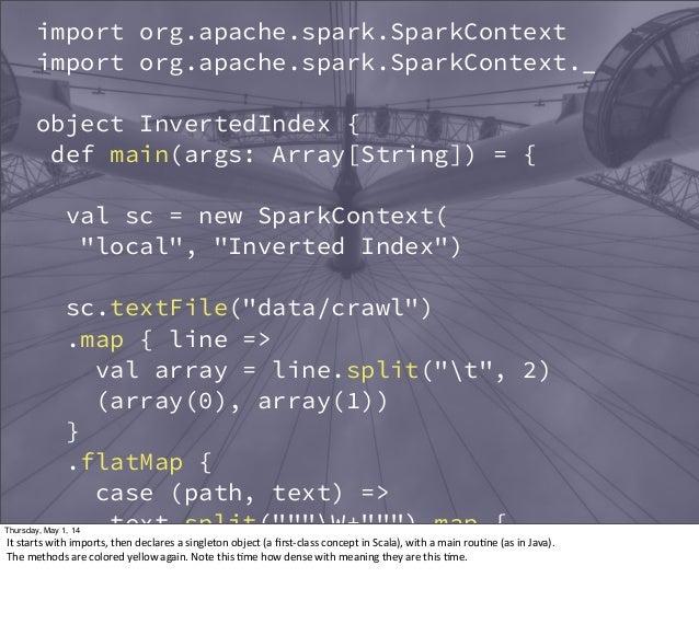 import org.apache.spark.SparkContext import org.apache.spark.SparkContext._ object InvertedIndex { def main(args: Array[St...