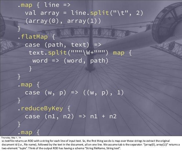 ".map { line => val array = line.split(""t"", 2) (array(0), array(1)) } .flatMap { case (path, text) => text.split(""""""W+"""""") ..."