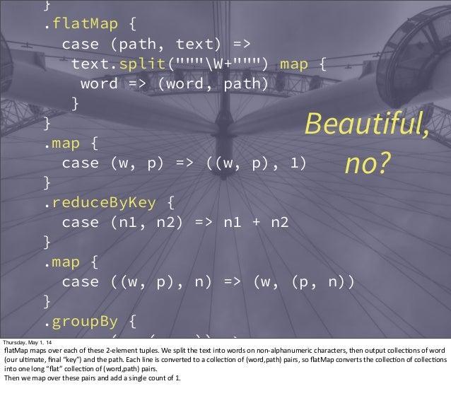 "} .flatMap { case (path, text) => text.split(""""""W+"""""") map { word => (word, path) } } .map { case (w, p) => ((w, p), 1) } ..."
