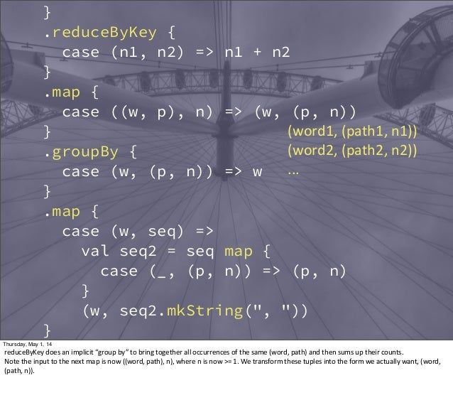 } .reduceByKey { case (n1, n2) => n1 + n2 } .map { case ((w, p), n) => (w, (p, n)) } .groupBy { case (w, (p, n)) => w } .m...