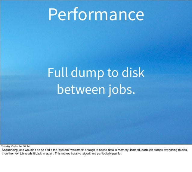 """Performance  Full dump to disk  between jobs.  Tuesday, September 30, 14  Sequencing jobs wouldn't be so bad if the """"syste..."""