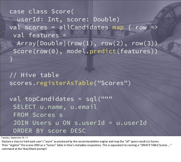 case class Score(  userId: Int, score: Double)  val scores = allCandidates map { row =>  val features =  Array[Double](row...