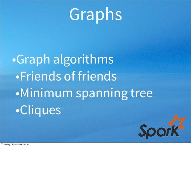 Graphs  •Graph algorithms  •Friends of friends  •Minimum spanning tree  •Cliques  Tuesday, September 30, 14