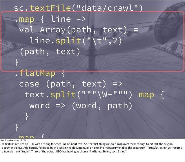 """sc.textFile(""""data/crawl"""") .map { line => val Array(path, text) = line.split(""""t"""",2) (path, text) } .flatMap { case (path, t..."""