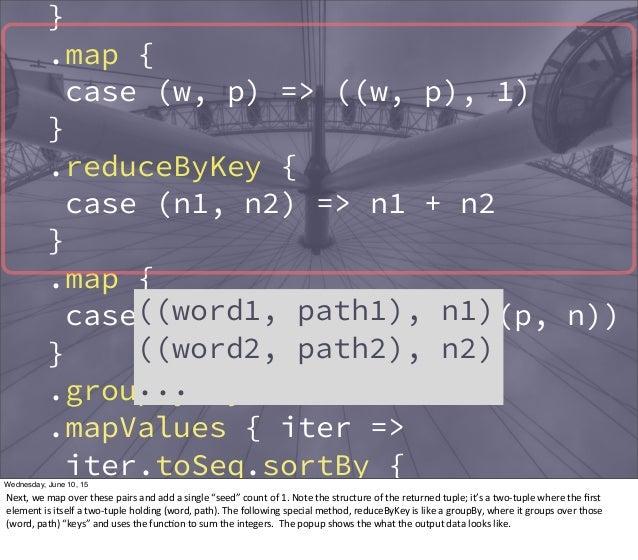 } .map { case (w, p) => ((w, p), 1) } .reduceByKey { case (n1, n2) => n1 + n2 } .map { case ((w, p), n) => (w, (p, n)) } ....