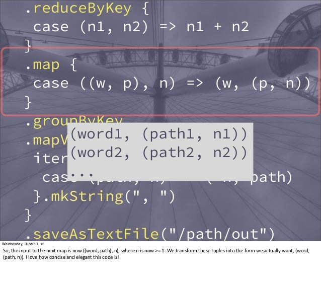 .reduceByKey { case (n1, n2) => n1 + n2 } .map { case ((w, p), n) => (w, (p, n)) } .groupByKey .mapValues { iter => iter.t...