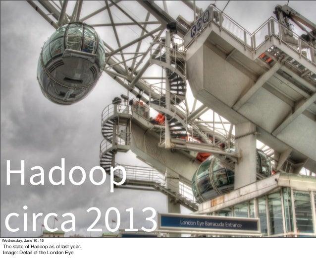 Hadoop circa 2013Wednesday, June 10, 15 The state of Hadoop as of last year. Image: Detail of the London Eye