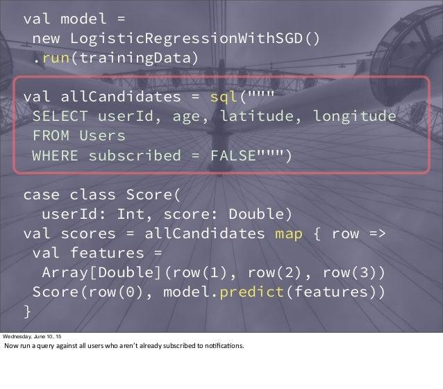 "val model = new LogisticRegressionWithSGD() .run(trainingData) val allCandidates = sql("""""" SELECT userId, age, latitude, l..."