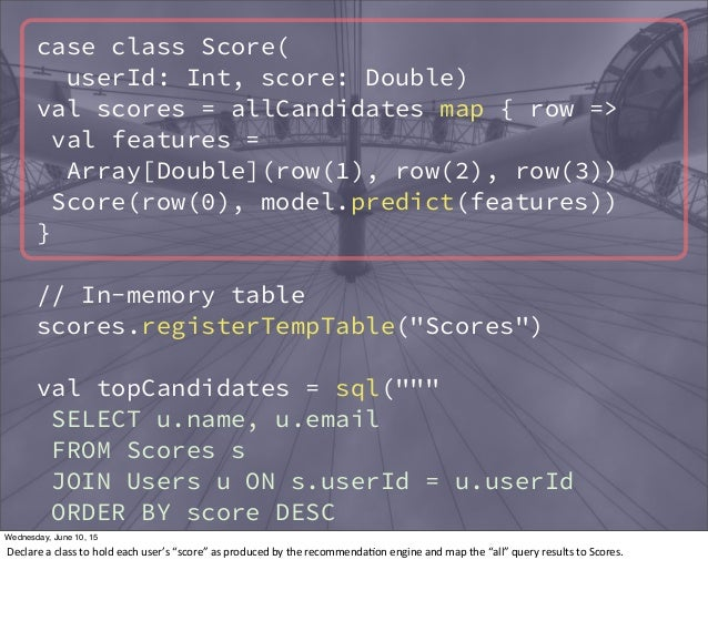 case class Score( userId: Int, score: Double) val scores = allCandidates map { row => val features = Array[Double](row(1),...