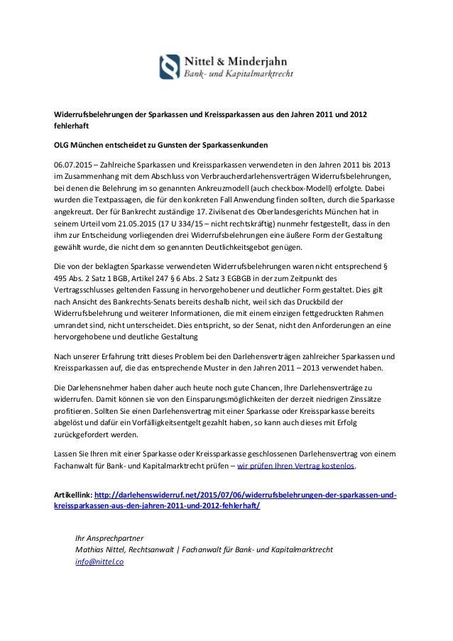 widerrufsbelehrungen der sparkassen und kreissparkassen aus den jahren 2011 und 2012 fehlerhaft olg mnchen entscheidet zu - Muster Widerrufsbelehrung Darlehensvertrag