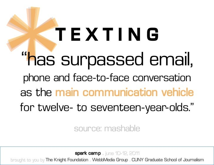 """TEXTING""""has surpassed email,phone and face-to-face conversationas the main communication vehiclefor twelve- to seventeen-y..."""