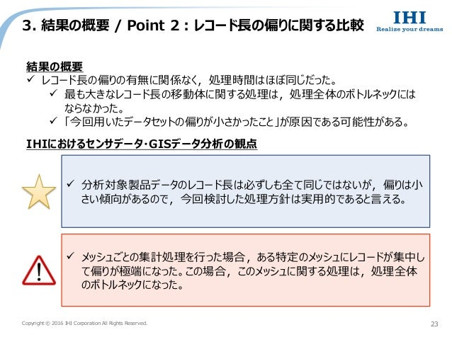 Copyright © 2016 IHI Corporation All Rights Reserved. 3. 結果の概要 / Point 2 : レコード長の偏りに関する比較 23 結果の概要  レコード長の偏りの有無に関係なく,処理時間...