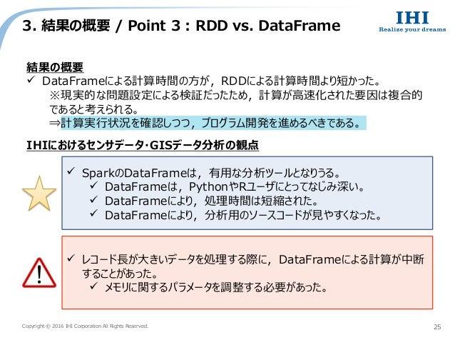 Copyright © 2016 IHI Corporation All Rights Reserved. 3. 結果の概要 / Point 3 : RDD vs. DataFrame 25 結果の概要  DataFrameによる計算時間の方...