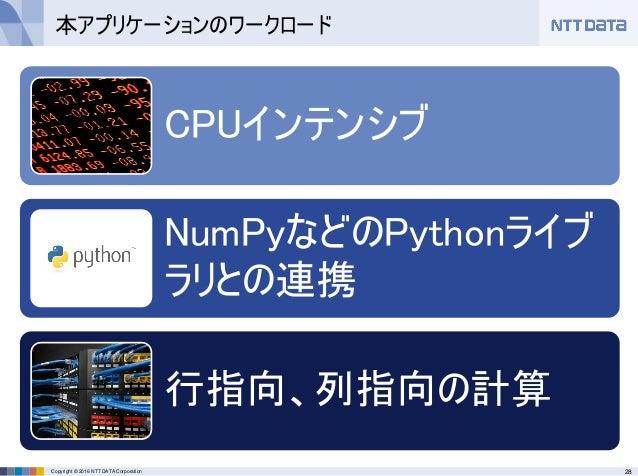 28Copyright © 2016 NTT DATA Corporation CPUインテンシブ NumPyなどのPythonライブ ラリとの連携 行指向、列指向の計算 本アプリケーションのワークロード