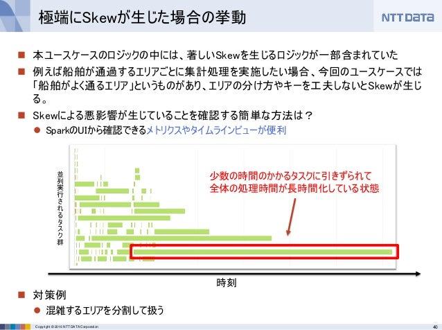 40Copyright © 2016 NTT DATA Corporation  本ユースケースのロジックの中には、著しいSkewを生じるロジックが一部含まれていた  例えば船舶が通過するエリアごとに集計処理を実施したい場合、今回のユースケ...