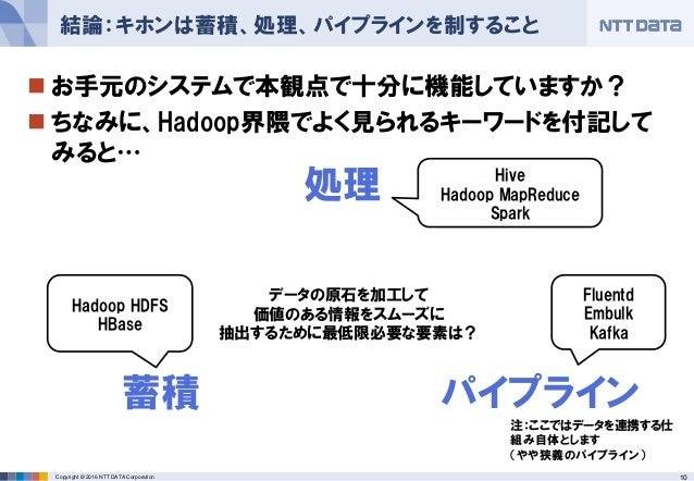 10Copyright © 2016 NTT DATA Corporation  お手元のシステムで本観点で十分に機能していますか?  ちなみに、Hadoop界隈でよく見られるキーワードを付記して みると… 結論:キホンは蓄積、処理、パイプ...