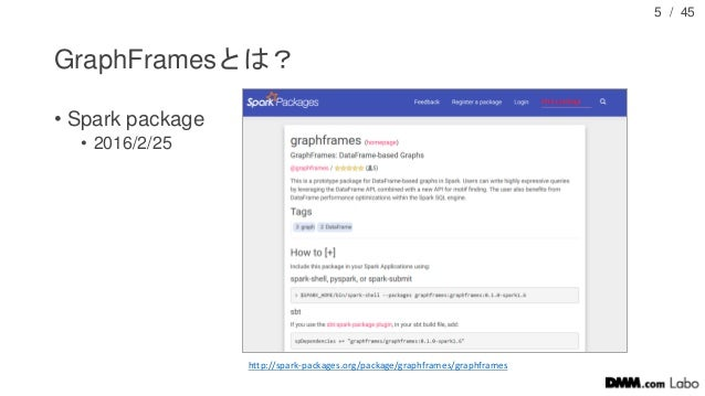 / 45 GraphFramesとは? • Spark package • 2016/2/25 5 http://spark-packages.org/package/graphframes/graphframes