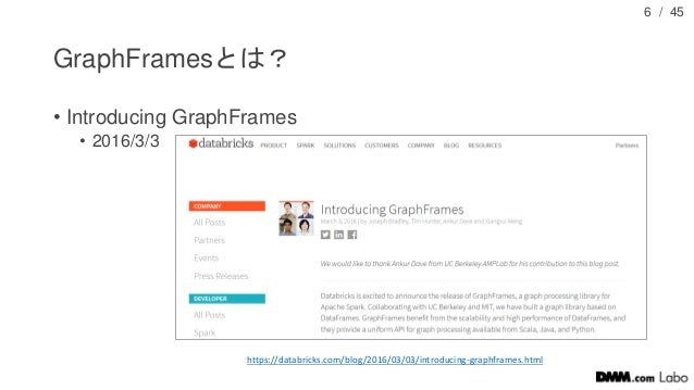 / 45 GraphFramesとは? • Introducing GraphFrames • 2016/3/3 6 https://databricks.com/blog/2016/03/03/introducing-graphframes....