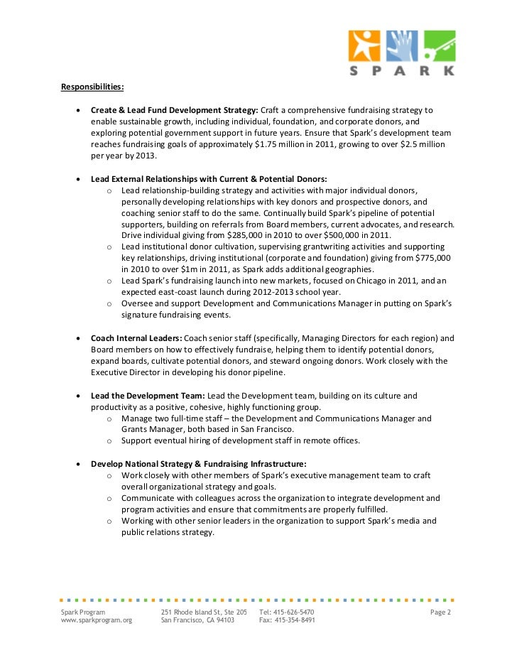 Spark Job Description: Development Director