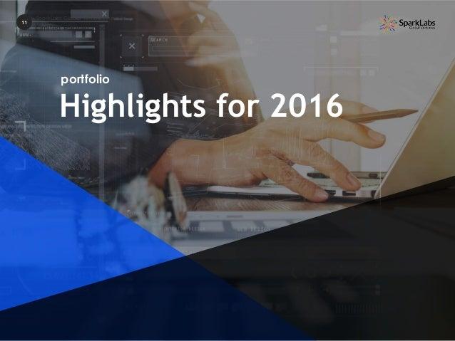 Highlights for 2016 portfolio 11 SparkLabs Global Ventures Fund II Limited Partner Update