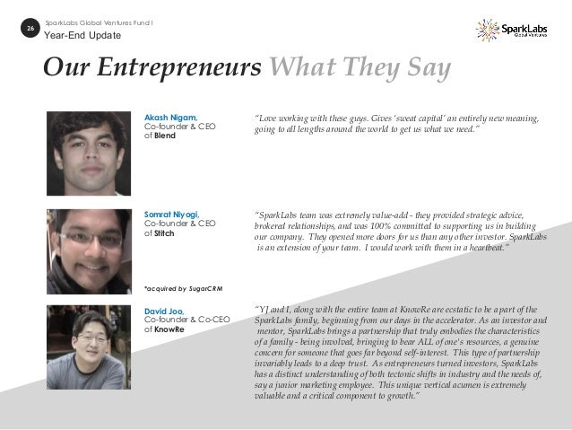"""Our Entrepreneurs What They Say 26 SparkLabs Global Ventures Fund I """"SparkLabs team was extremely value-add - they provide..."""