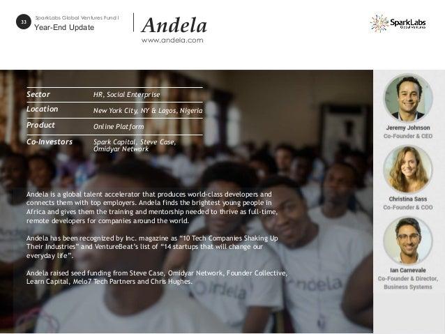 33 SparkLabs Global Ventures Fund I Andela www.andela.com Andela is a global talent accelerator that produces world-class ...