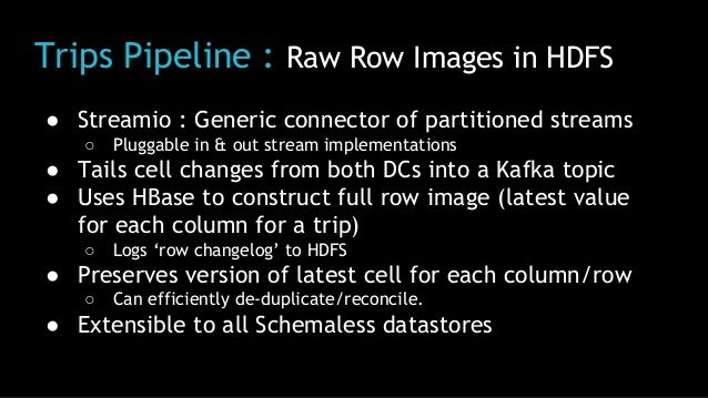 Trips Pipeline : Raw Row Images in HDFS ● Streamio : Generic connector of partitioned streams ○ Pluggable in & out stream ...