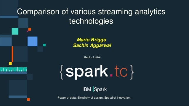 © 2015 IBM Corporation0 Power of data. Simplicity of design. Speed of innovation. IBM Spark Comparison of various streamin...