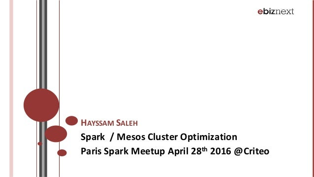 HAYSSAM SALEH Spark		/	Mesos Cluster	Optimization Paris	Spark	Meetup April	28th 2016	@Criteo