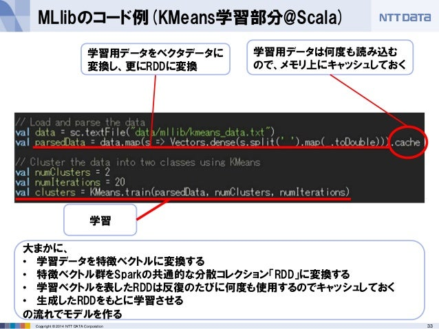 33Copyright © 2014 NTT DATA Corporation MLlibのコード例(KMeans学習部分@Scala) 学習用データをベクタデータに 変換し、更にRDDに変換 学習用データは何度も読み込む ので、メモリ上にキャ...