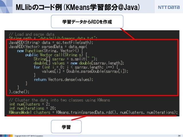 34Copyright © 2014 NTT DATA Corporation MLlibのコード例(KMeans学習部分@Java) 学習データからRDDを作成 学習