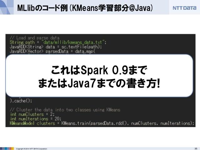35Copyright © 2014 NTT DATA Corporation MLlibのコード例(KMeans学習部分@Java) これはSpark 0.9まで またはJava7までの書き方!