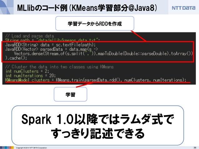 36Copyright © 2014 NTT DATA Corporation MLlibのコード例(KMeans学習部分@Java8) Spark 1.0以降ではラムダ式で すっきり記述できる 学習データからRDDを作成 学習
