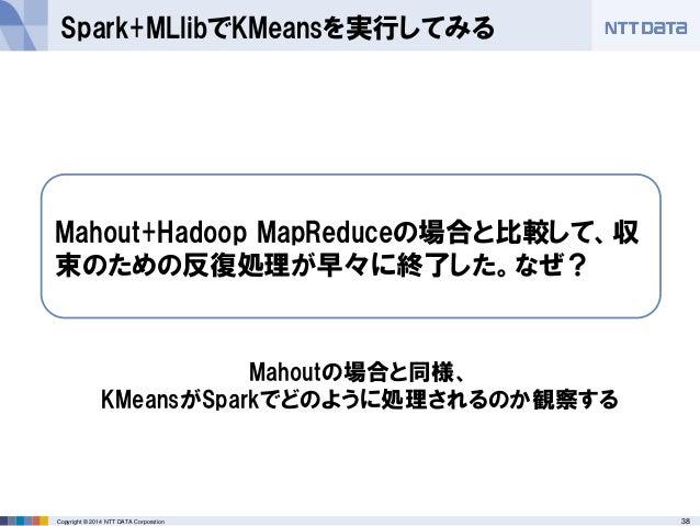 38Copyright © 2014 NTT DATA Corporation Spark+MLlibでKMeansを実行してみる Mahout+Hadoop MapReduceの場合と比較して、収 束のための反復処理が早々に終了した。なぜ? ...