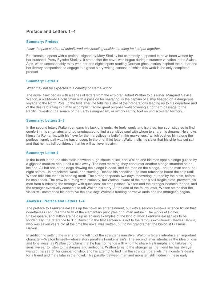 frankenstein letters summary sparknotes for frankenstein 37979