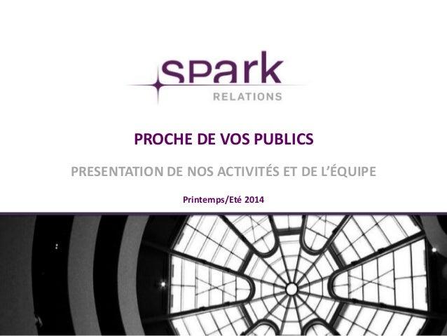 PROCHE DE VOS PUBLICS PRESENTATION DE NOS ACTIVITÉS ET DE L'ÉQUIPE Printemps/Eté 2014