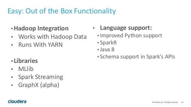 14© Cloudera, Inc. All rights reserved. Easy: Out of the Box Functionality • Hadoop Integration • Works with Hadoop Data •...