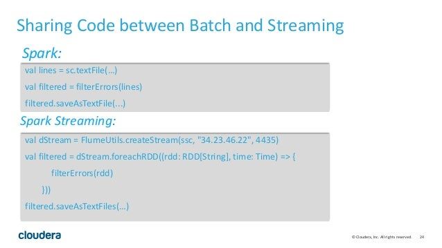 24© Cloudera, Inc. All rights reserved. Sharing Code between Batch and Streaming val lines = sc.textFile(…) val filtered =...
