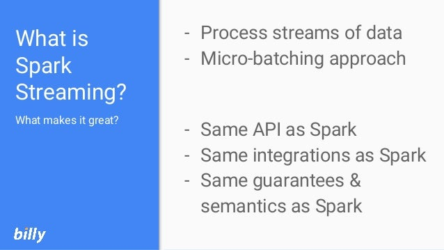 What is Spark Streaming? - Process streams of data - Micro-batching approach - Same API as Spark - Same integrations as Sp...