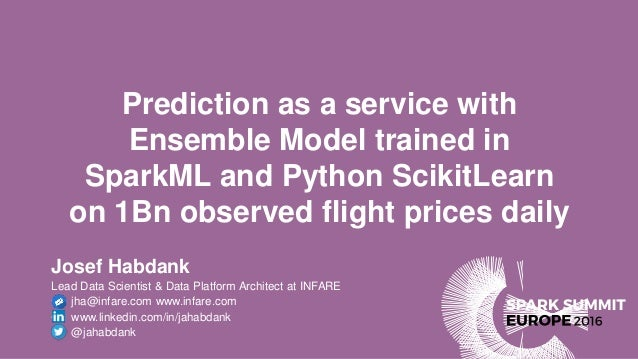Prediction as a service with Ensemble Model trained in SparkML and Python ScikitLearn on 1Bn observed flight prices daily ...