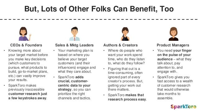 But, Lots of Other Folks Can Benefit, Too CEOs & Founders • Knowing more about your target market before you make key deci...