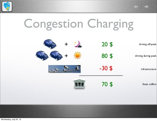 Congestion Charging + 80 $ 20 $+ 70 $ -30 $ driving off-peak driving during peak infrastructure State coffers Wednesday, J...
