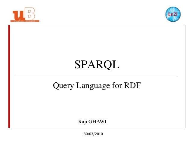 SPARQL Query Language for RDF  Raji GHAWI 30/03/2010