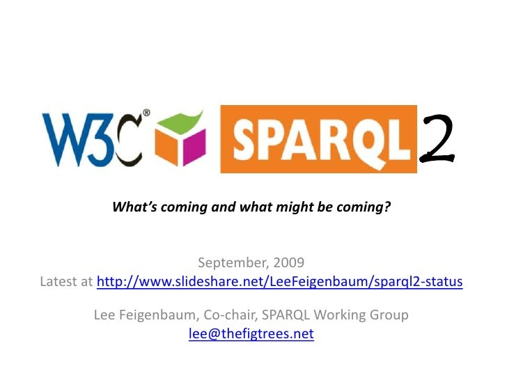 1.1<br />What's coming and what might be coming?<br />May, 2010<br />Latest at http://www.slideshare.net/LeeFeigenbaum/spa...