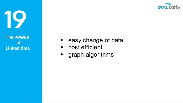 The POWER of Linked data ▸ easy change of data ▸ cost efficient ▸ graph algorithms 19