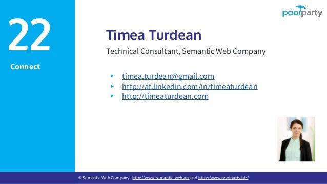 Connect Timea Turdean Technical Consultant, Semantic Web Company ▸ timea.turdean@gmail.com ▸ http://at.linkedin.com/in/tim...