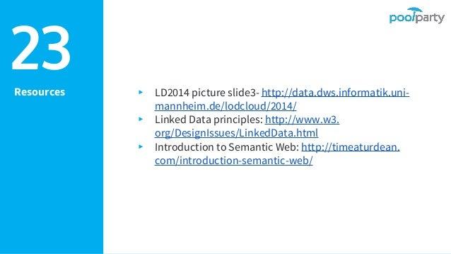 ▸ LD2014 picture slide3- http://data.dws.informatik.uni- mannheim.de/lodcloud/2014/ ▸ Linked Data principles: http://www.w...