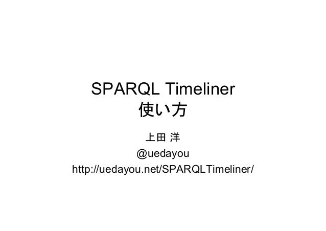 SPARQL Timeliner 使い方 上田 洋 @uedayou http://uedayou.net/SPARQLTimeliner/
