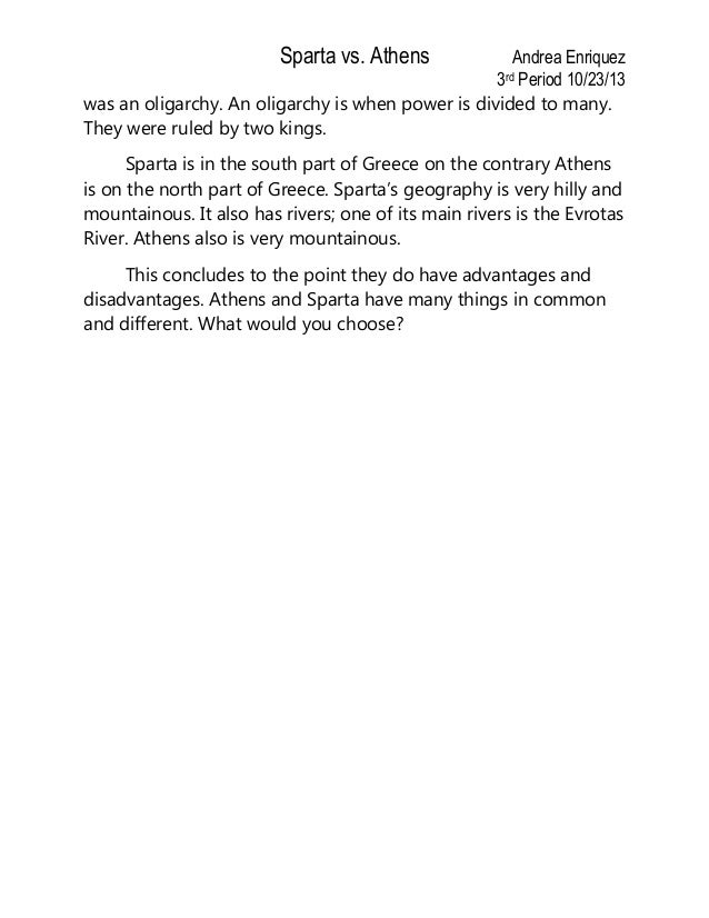 athens vs sparta government essay Athens v sparta -- comparison table share the version of the browser you are using is no longer supported please upgrade to a supported browserdismiss file edit.